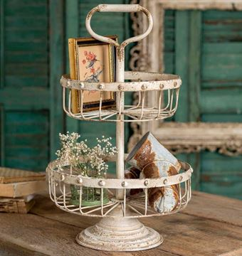 Picture of White Painted Wire & Metal Stand For Display & Serving With Handle - 2 Tier