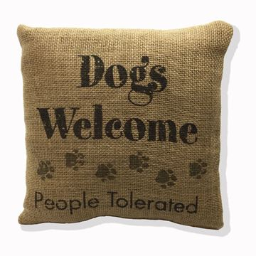 "Picture of Dogs Welcome People Tolerated Burlap Mini Pillow 8"" X 8"""