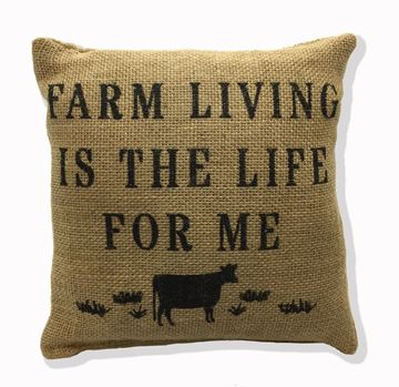 "Picture of Farm Living Is The Life For Me Burlap Mini Pillow 8"" X 8"""
