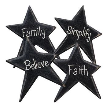 Picture of Black Star Inspirational Word Magnet - Set Of 4 - Assorted