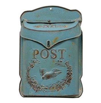 Picture of Blue Painted Metal With Bird Post / Mailbox Vintage Inspired