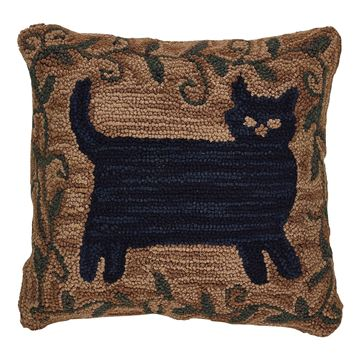 "Picture of Cat By Teresa Kogut Hooked Pillow 18"" X 18"""