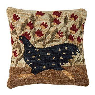 "Picture of Chicken Run Hooked Pillow 18"" X 18"""