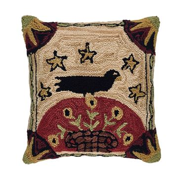 "Picture of Folk Crow Hooked Pillow 18"" X 18"""
