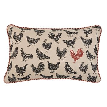 "Picture of Hen Pecked Rooster Pillow 12"" X 20"""