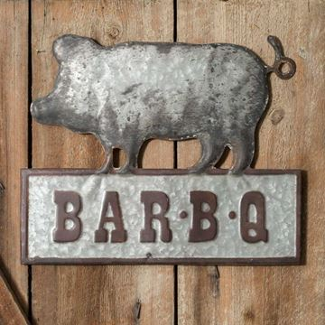 Picture of Bar-B-Q Pig Sign - Embossed Metal