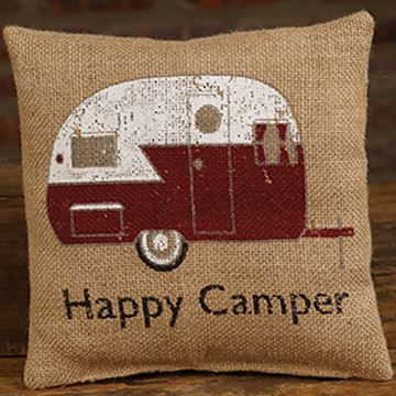 "Picture of Happy Camper Burlap Mini Pillow 8"" X 8"""