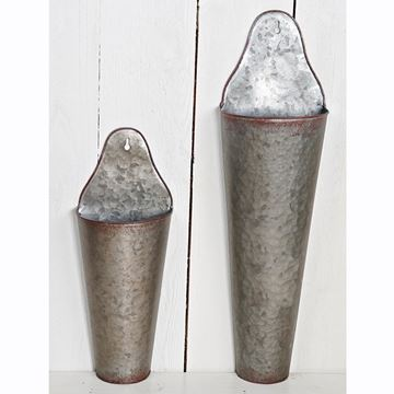 Picture of Galvanized Vintage Style Cone Wall Bucket - Set Of 2