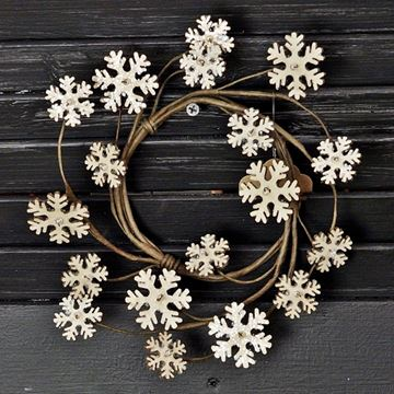 "Picture of Glitter Vintage Snowflake Candle Ring / Wreath 3.5"" Inner Diameter"