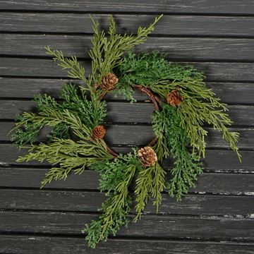 "Picture of Coral Cedar Candle Ring / Wreath 3.5"" Inner Diameter"