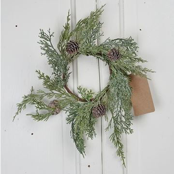 "Picture of Icy Sparkled Cedar Candle Ring / Wreath 3.5"" Inner Diameter"