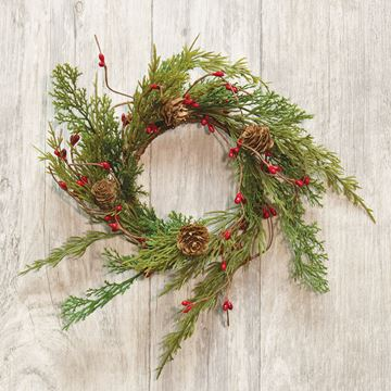 "Picture of Evergreen Pine W/ Red Pip Berries Candle Ring / Wreath 3.5"" Inner Diameter"