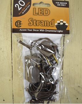 Picture of 20 Count Led Light String Teeny Rice Clear Warm White Bulbs Brown Cord Electric
